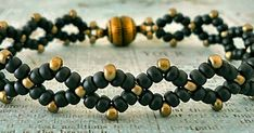 "DIAMOND CHAIN 8/0 seed beads Miyuki ""Matte Black"" (8-F401) 11/0 seed beads Cousin ""Antique Bronze"" (AJM61215018) This was one of the..."