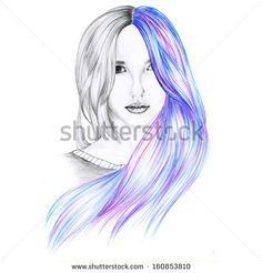 Beautiful drawing,model with colorful hair