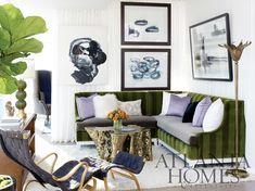 green white lavender gold Living Room Designs, Living Room Decor, Living Rooms, Family Rooms, Living Spaces, Feng Shui, Corner Banquette, Atlanta Homes, Cozy Corner