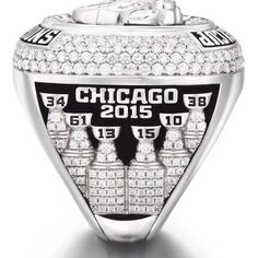Side view of Blackhawks Stanley Cup ring. So proud of Hawks. Stanley Cup Rings, 2015 Stanley Cup, Diamond Rings, Diamond Cuts, Chicago Girls, Championship Rings, Chicago Blackhawks, Flask, Rings For Men