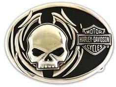 Harley- Davidson Men's Collector Belt Buckle Skull Fire Motorcycle | I Love Harley Davidson Bikes