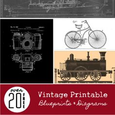 Decorate your home with some vintage prints! Free Vintage Printable Blueprin… Decorate your home with some vintage prints! Free Vintage Printable Blueprints and [. Vintage Printable, Printable Wall Art, Printable Stencils, Printable Scripture, Vintage Labels, Vintage Ephemera, Free Poster, Diy Image, Christmas Sheet Music