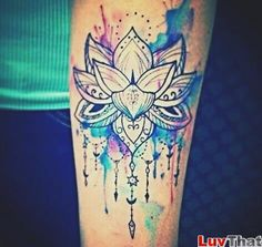 watercolor splashes flower tattoo lotus - another placement though. Love the paint splatter!