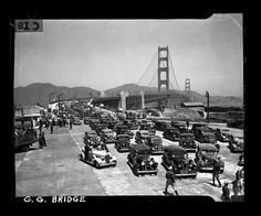 Auto parade on the opening day of the Golden Gate Bridge heading southbound on May 27, 1937. San Francisco Chronicle archive photos of the Golden Gate Bridge construction and opening to the public.