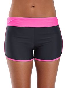 Buy Women's Swim Shorts Sports Swim Bottom Tankini Bikini Bottoms Modest - Black--pink - and Find More From Our Large Selection of Women's Swimsuits With Big Discount. Swimsuit With Shorts, Black Swimsuit, Swimsuit Tops, Boyleg Swimsuit, Blue Bikini, Women's Swimsuits & Cover Ups, Swimsuit Cover Ups, Beachwear For Women, Women Swimsuits