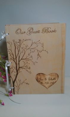 Rustic Chic Wedding Guest Book or Words of  Wisdom Book Personalized. $45.00, via Etsy.