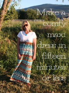 "Easy DIY Maxi T Shirt Dress Tutorial-love this site. Reminds me of raiding the ""dony"" closet at Girls Ranch and recreating our clothes. @Karen Levi Davenport"