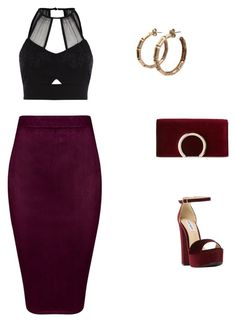 """""""burgundy,"""" by sandra-boguslawska ❤ liked on Polyvore featuring River Island, Steve Madden and Jessica McClintock"""