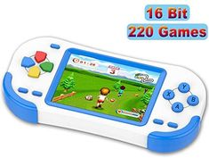 TEBIYOU Handheld Game Console for Adults Kids Seniors with Built in 16 Bit 220 HD Classic Games 3.0'' Large Screen Portable Retro Game Player Children Electronic Handheld Games (Blue) Mini Games, Games To Play, Bubble Dragon, Power Supply Design, Modern Games, Typing Games, Game Icon, Surprise Gifts, Kids And Parenting