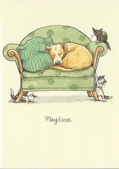 Illustration by Anita Jeram Illustration Mignonne, Children's Book Illustration, Cute Drawings, Animal Drawings, Anita Jeram, Art Mignon, Cartoon Dog, Dog Art, Cute Art