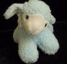"Eden Blue White Sherpa Lamb Plush Soft Toy Rattle 6"" Stuffed Sheep Animal #Eden"