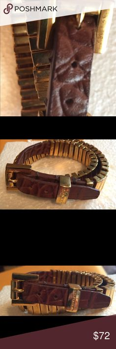 MK Brown Crocodile Leather Double Wrap Bracelet! MK Brown Crocodile Leather Double Wrap Buckle Bracelet. Preowned but in great condition. Only worn a couple or 3 times at the most! Michael Kors Jewelry Bracelets