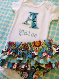 Personalized Initial Onesie and Diaper Cover Set- Embroidered Onesie and Diaper Cover Set-Personalized Embroidered Onesie- Aqua Paisley. $36.00, via Etsy.