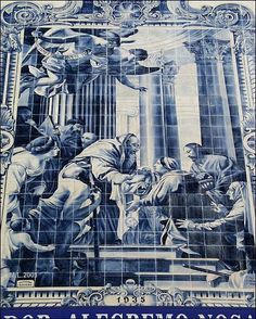 Igreja de Nossa Senhora da Apresentação Portuguese Culture, Portuguese Tiles, Tile Art, Mosaic Tiles, Tile Panels, Blue Pottery, Delft, Blue And White, Vera Cruz