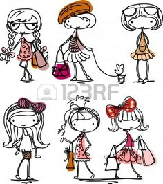Illustration of Cartoon fashionable girls vector art, clipart and stock vectors. Doodle Drawings, Cartoon Drawings, Easy Drawings, Drawing For Kids, Art For Kids, Doodle People, Stick Figure Drawing, Doodle Girl, Kawaii Doodles