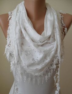 White Cotton and Transparent Fabric - Skull Printed Scarf - with White Trim Edge - Summer Collection