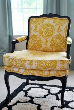 yellow floral french bergere chair