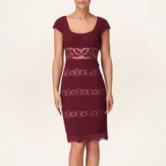 Bordeaux bessie lace detail dress
