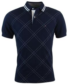 Tommy Hilfiger Mens Classic Fit Argyle Stitch Logo Polo Shirt - S - Navy Camisa Polo, Mens Polo T Shirts, Polo Tees, Men's Polo, Clean Cut Men, Stylish Men, Men Casual, Casual T Shirts, Shirt Style