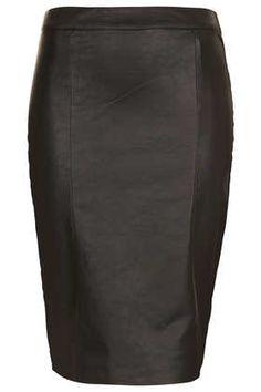 Topshop faux leather Black Panel Pencil Skirt