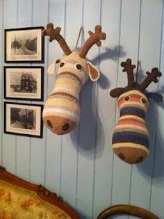 "Leave it to our creative friends in Norway to think up ways to use old sweaters! Could be so fun and cute in a kid""s room!:"