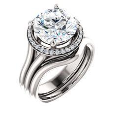 10kt White Gold 10mm Center Round Cubic Zirconia and 30 Halo Diamonds Bridal Ring Set...(ST122281:538:P).! Price: $619.99 #bridalringset #cubiczirconia