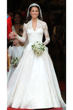 10 Iconic Wedding Gowns/I was a little deflated with this choice of gown...I guess I wanted more pouf and just more Diana, but Kate and Prince William were indeed radiant.