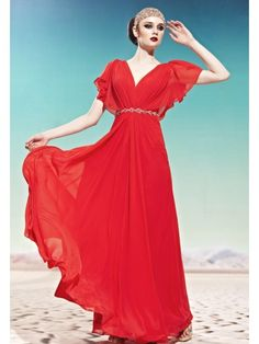 Red Classic V-Neck Falbala Slim Evening Prom Formal Ball Gown Dress - Merpher.L