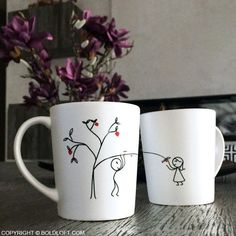 """Cute Valentine's Day gifts for boyfriend or husband. BoldLoft Love Grows for You His and Hers Coffee Mugs. If you are looking for something a bit on the sassy side, these coffee mugs are as playful as your sweetie is. """"My love grows for you like the fruit on a tree, growing sweeter each day you spend with me."""""""