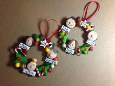 Personalized Polymer Clay Family Wreath Ornament Family Tree Christmas Ornament Polymer Wreath