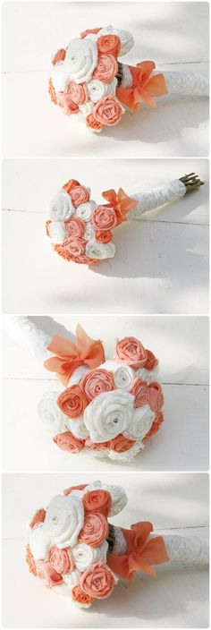 Rustic Wedding Bouquet Fabric Rose -Wrap Flowers - Salmon Peach Coral Orange Tangerine - Alternative Bouquet on Etsy, $53.87 AUD