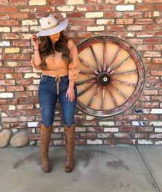 Get this look Top Model Cowboy Outfits For Women, Summer Cowgirl Outfits, Cowgirl Style Outfits, Rodeo Outfits, Outfits With Hats, Cute Outfits, Country Chic Outfits, Southern Outfits, Fiesta Outfit