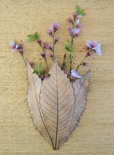 Clay Leaves Wall Pocket Made with 3 Real Leaves by SallysClay