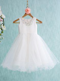 Lanting Bride Ball Gown Knee-length Flower Girl Dress - Satin / Tulle Sleeveless Jewel with - USD $59.99