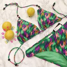 """HP The Make Them Go Ahhh! Bikini w/ Wood Beads """"When she walks, she's like a samba That swings so cool and sways so gently That when she passes Each one she passes goes, aaaaaah"""" (Girl from Ipanema lyrics)  NWT/Medium/Bright Green, Pinks and Purple will make them go Ahhhhhhh!/top and bottom/by Sunshine Zone/Removable Bra Padding/Plastic Underwear shield still on/wooden bead accents on bikini top/come on summer let's play/ Swim Bikinis"""