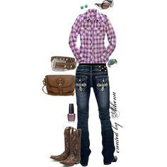 """""""Purple Plaid & Tan Western Wear"""""""