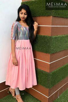VeroniQ Trends - New designer Embroidered gown/Dress in Chanderi silk with Georgette Bandhani Dupatta-Indian,Ethinic,Jaipur. Simple Kurta Designs, Kurta Designs Women, New Kurti Designs, Sleeves Designs For Dresses, Dress Neck Designs, Chudidhar Neck Designs, Mode Bollywood, Kalamkari Dresses, Ikkat Dresses