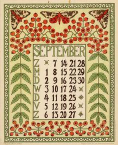 Netty van der Waarden. Kalender Bloem en Blad. September. 1902.