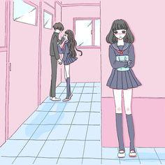 Aesthetic anime, aesthetic art, korean illustration, cute girl drawing, art s Cute Couple Art, Anime Love Couple, Sad Anime Girl, Anime Art Girl, Anime Couples Manga, Cute Anime Couples, Kawaii Art, Kawaii Anime, Art Goth