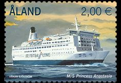 Finland This year's second stamp in the passenger ferry series features M/S Princess Anastasia. The ship operates on the route Stockholm–Tallinn–St Petersburg– Helsinki. Princess Anastasia, Stamp Collecting, Postage Stamps, Archipelago, Nye, Ephemera, Ship, Poster, World