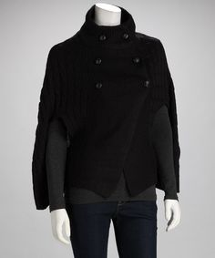 Black Double-Breasted Sweater by Winter Essentials: Women's Knits on @zulily