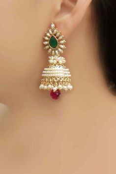 Glowing Ethnic Bollywood Design Classical Jhumki Polki Earring Indian Jewellery #ShubhaniJewels
