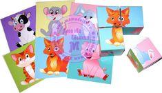 Кубики сложи животных (4 кубика и 6 картинок)