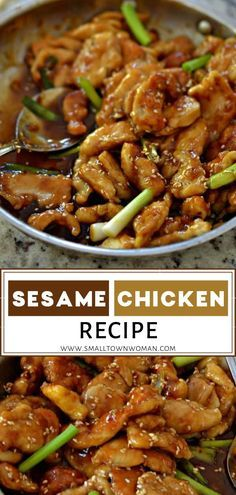 Easy Sesame Chicken Recipe is both sweet and salty with just a hint of spice Taste a piece of heaven in just a few minutes Serve over rice or Chinese noodles for a family favorite meal you can swing on a weeknight Add this to your dinner menu ideas Easy Sesame Chicken, Easy Chicken Recipes, Asian Recipes, Healthy Recipes, Recipe Chicken, Sesame Chicken And Noodles Recipe, Heavenly Chicken Recipe, Chinese Sesame Chicken, Chicken Over Rice