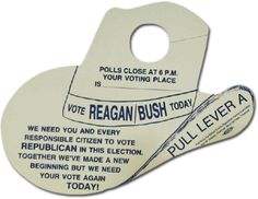 election day door hanger from the 1984 presidential campaign.