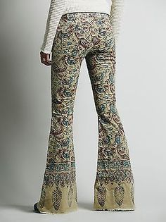 Free People Low-Rise Indian-Print Bali Flared Jeans, Antique Combo Wash 27in.