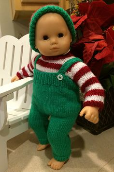 Christmas Elf, modeled by American Girl Bitty Baby. See the pattern at http://images4-b.ravelrycache.com/uploads/fonegal/396725565/ElfBoy_medium2.jpg