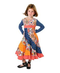 Another great find on #zulily! Navy & Coral Medallion & Owl Flo A-Line Dress - Toddler & Girls #zulilyfinds