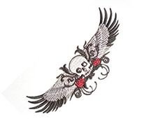 "[Single Count] Custom and Unique (5 1/4"" x 2"" Inches) Classic Flying Skull w/ Big Wide Wings Spread Open w/ Roses & Curly Design Iron On Embroidered Applique Patch {Black, White, & Red Colors}"