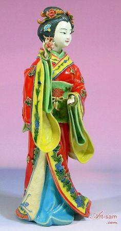 Butterfly - Porcelain Figurine Japanese Kimono Geisha Lady